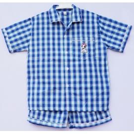 B6C3Z41 อายุ10-12ขวบ ผ้าทีซี ลายสก๊อต สีน้ำเงิน+เขียว+ขาว