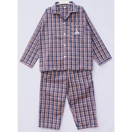 B6A3Z60 อายุ10-12 ขวบ ผ้าทีซี ลายสก๊อตสีน้ำเงิน+ส้ม+เขียว+ขาว