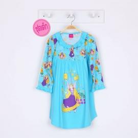 G6E1A28 Size 14 อายุ9-10ขวบ ผ้ายืด ลายลิขสิทธิ์ Disney Princess ลายเจ้าหญิงราพันเซลกับถ้วยสีเหลือง โทนสีฟ้า