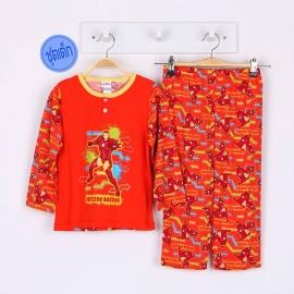 B3A1P83 Size 6 อายุ 4 ขวบ คอกลม ลายการ์ตูนลิขสิทธิ์ Marvel ลายไอรอนแมน โทนสีส้ม
