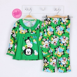 G6A1E11 Size14 อายุ9-10 ขวบ ผ้ายืด ลายลิขสิทธิ์ Disney Tsum ลายซูมน่ารักสดใส โทนสีเขียว