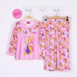 G6A1X26 Size14 อายุ9-10 ขวบ ผ้ายืด ลายลิขสิทธิ์ Disney Princess ลายเจ้าหญิงนิทรากับราพันเซลนวาดรูป โทนสีชมพู