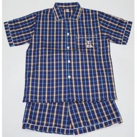 B7C3Z03 Size14-16 ผ้าทีซี ลายสก็อตสีน้ำเงิน+ฟ้า+เหลือง