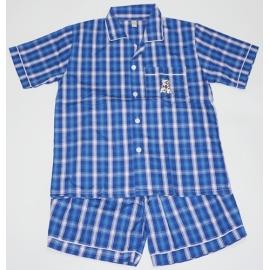 B7C3Z05 Size14-16 ผ้าทีซี ลายสก็อตสีน้ำเงิน+ฟ้า+ขาว