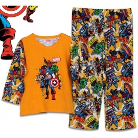 B7A1H74 Size 16 อายุ 11-12 ปี คอกลม ผ้ายืด ลายการ์ตูนลิขสิทธิ์ Marvel ลาย6ฮีโร่ โทนสีส้ม